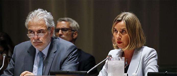 Le commissaire Christos Stylianides et la haute représentante/vice-présidente Federica Mogherini à l'assemblée générale des Nations unies en septembre. © Union européenne, 2017