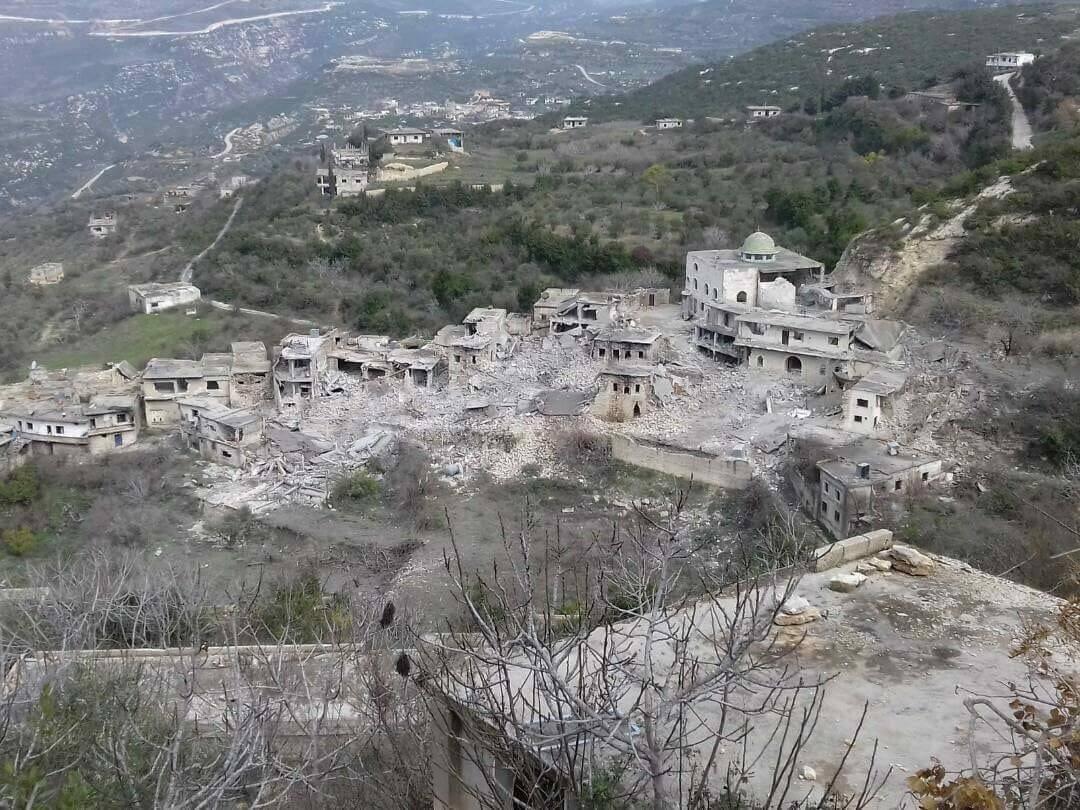 Le village de Toffahiya après 7 raids aériens russes, le 6 janvier 2018