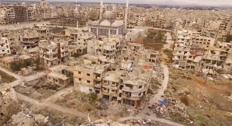 La ville de Homs en 2016, vue d'un drone (source Russia Works)