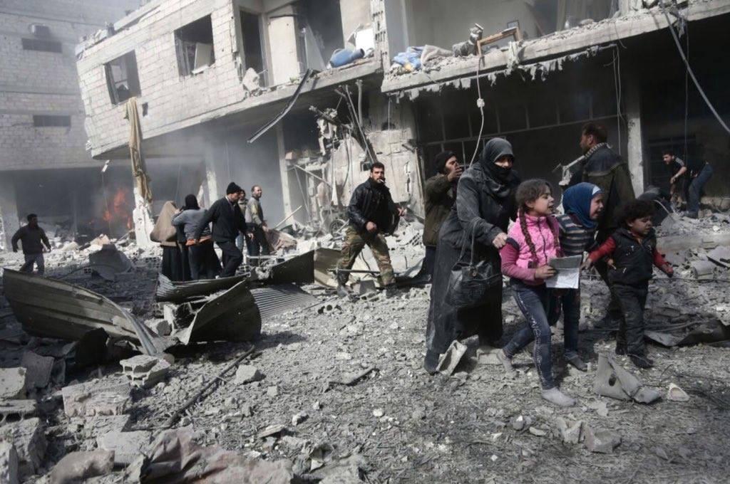 La population de la Ghouta Orientale terrifiée par les bombardements.