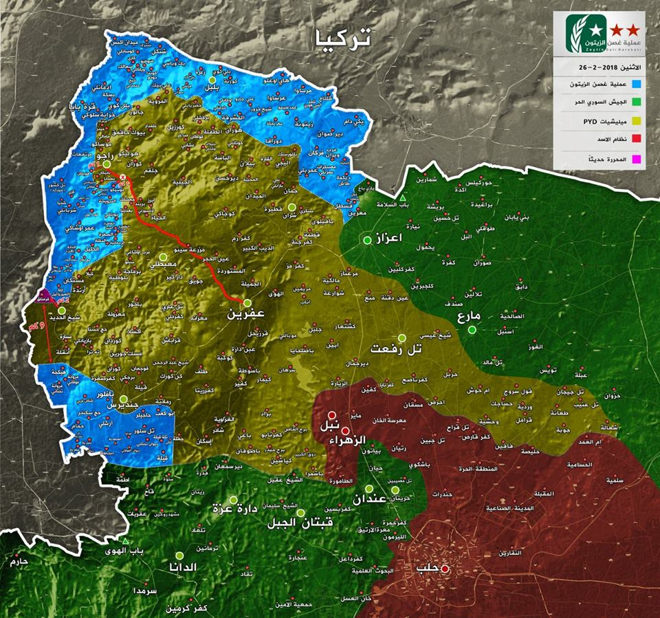 Le plan, aujourd'hui, des zones de contrôle autour d'Afrine : en bleu et vert l'ASL, en jeune les FDS, ent rouge le régome.