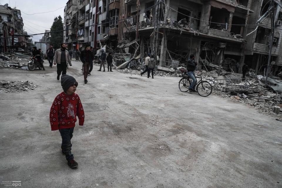 Une rue, aujourd'hui, à la Ghouta Orientale de Damas