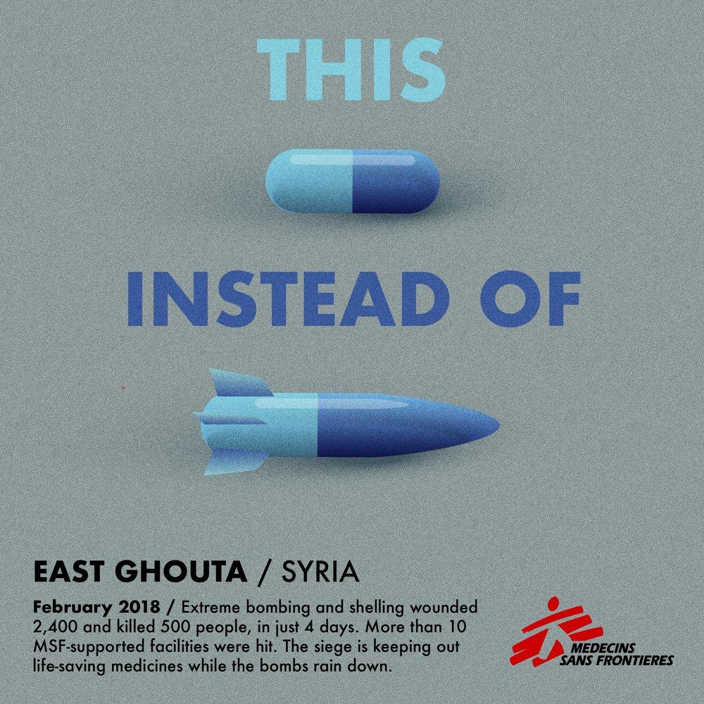 Image publié par Médecins Sans Frontières : des médicaments pas des obus