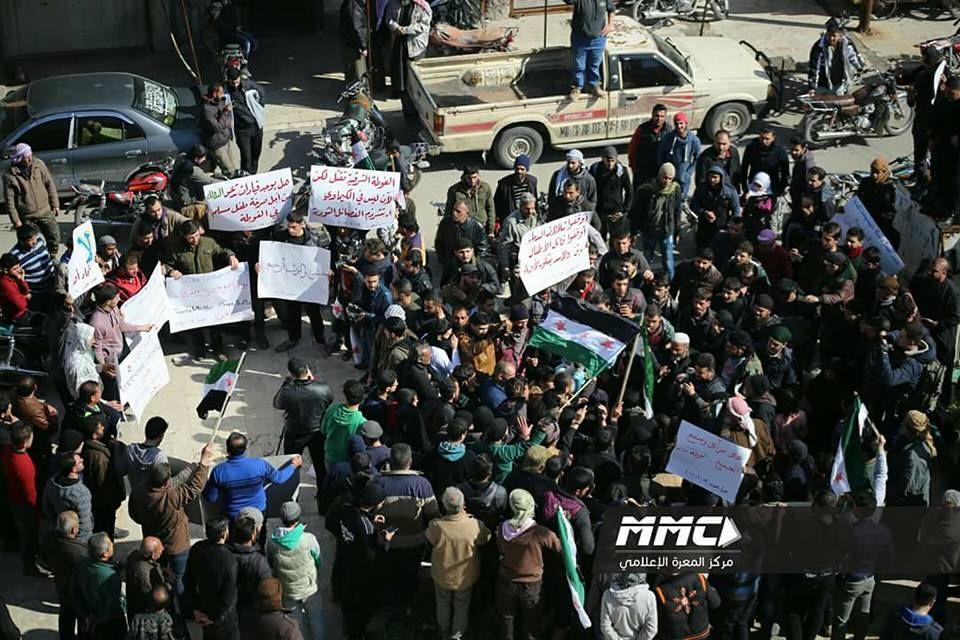 Le rassemblement de Maarat Al-Noumane, aujourd'hui, contre Al-Nosra