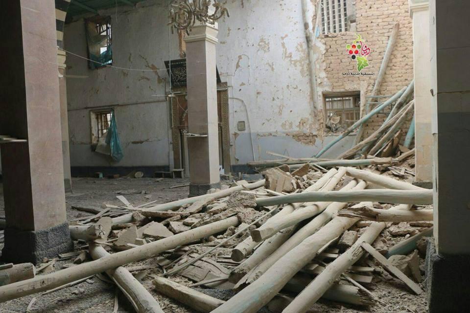 Une mosquée à Douma, dans la Ghouta orientale, détruite aujourd'hui par les bombardements.