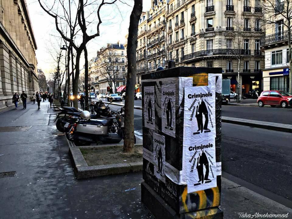 Affiches contre Assad et Poutine à Paris