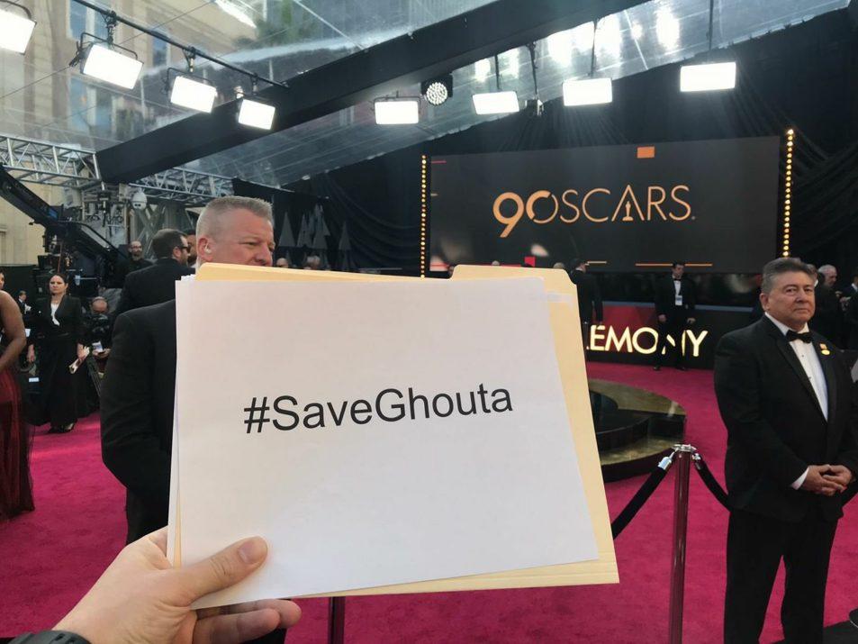 Un message en solidarité avec la Ghouta, hier, depuis les Oscars