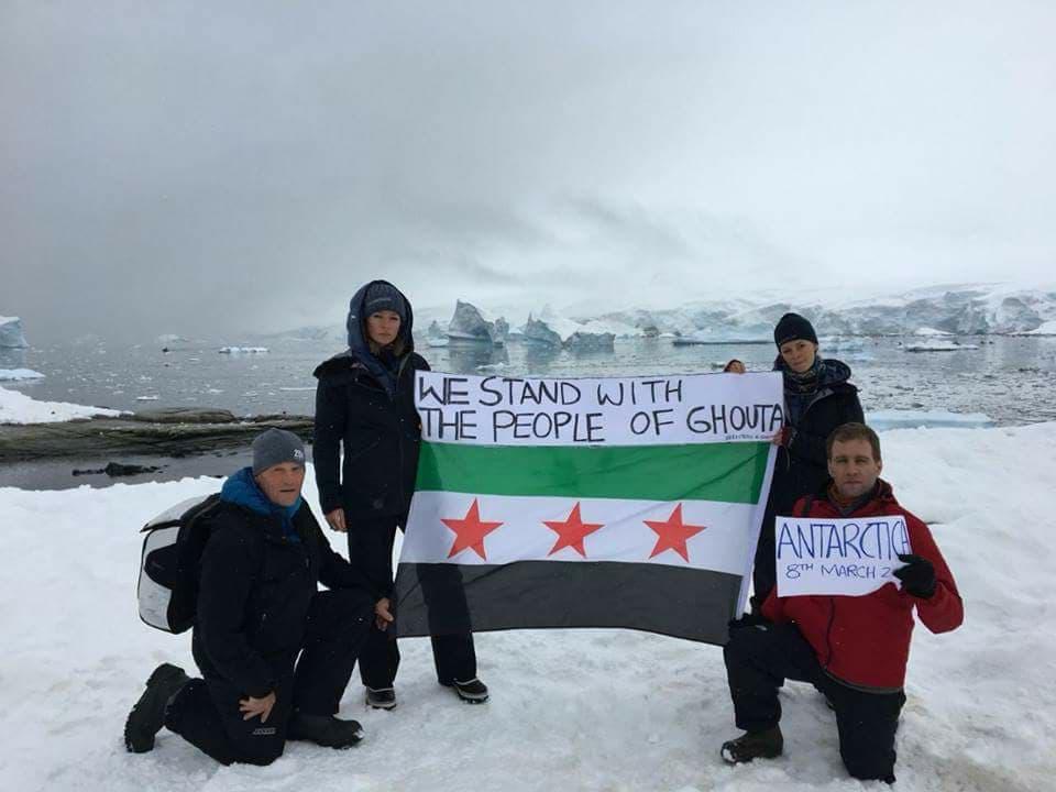 Robert Swan et son équipe en solidarité avec la Ghouta depuis l'antarctique