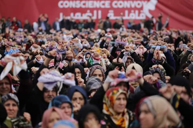 Le grand rassemblement, en solidarité avec les femmes détenues en Syrie