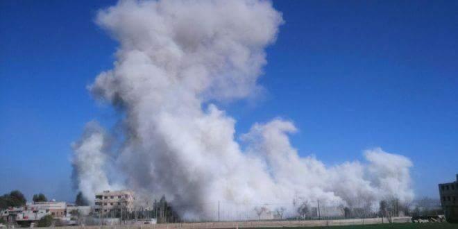 Bombardement, aujourd'hui sur la ville de Jisreen dans la Ghouta