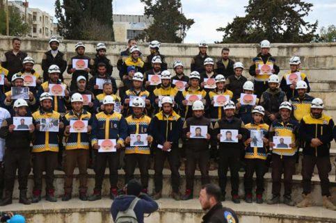 Le rassemblement des casques blancs en hommage aux sauveteurs martyrs