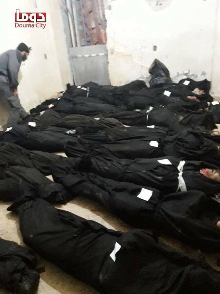 Les victimes regroupées à la ville de Douma