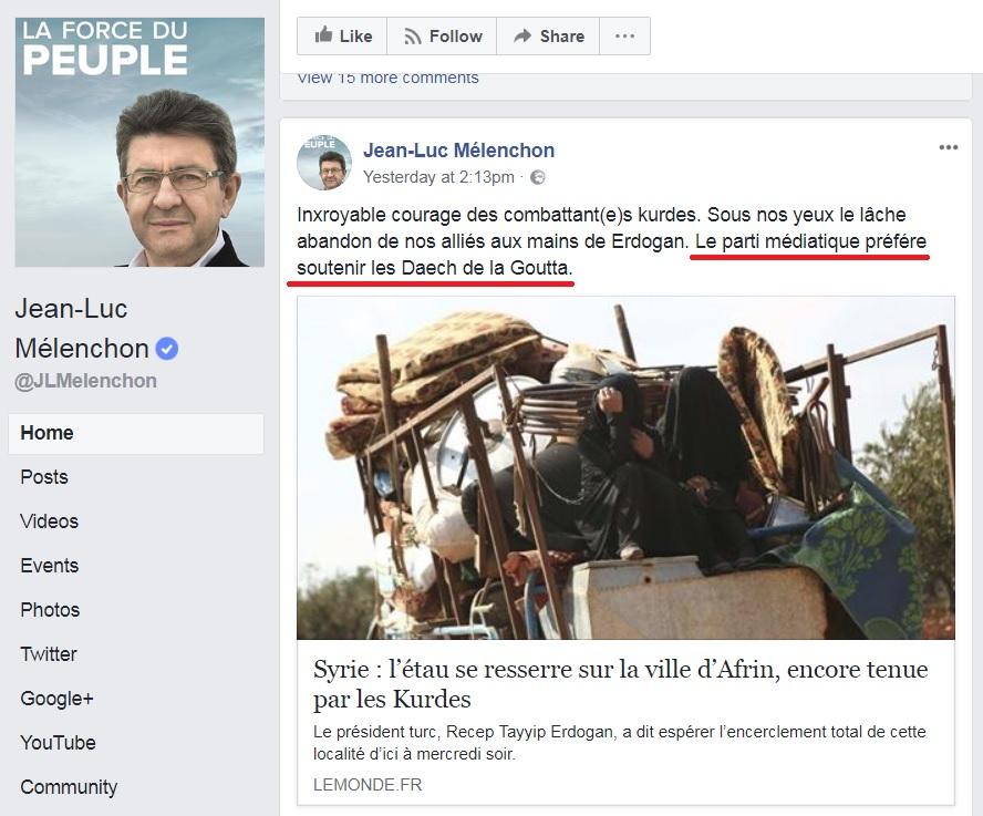 Mélanchon accuse les habitants de la Ghouta d'être de Daech