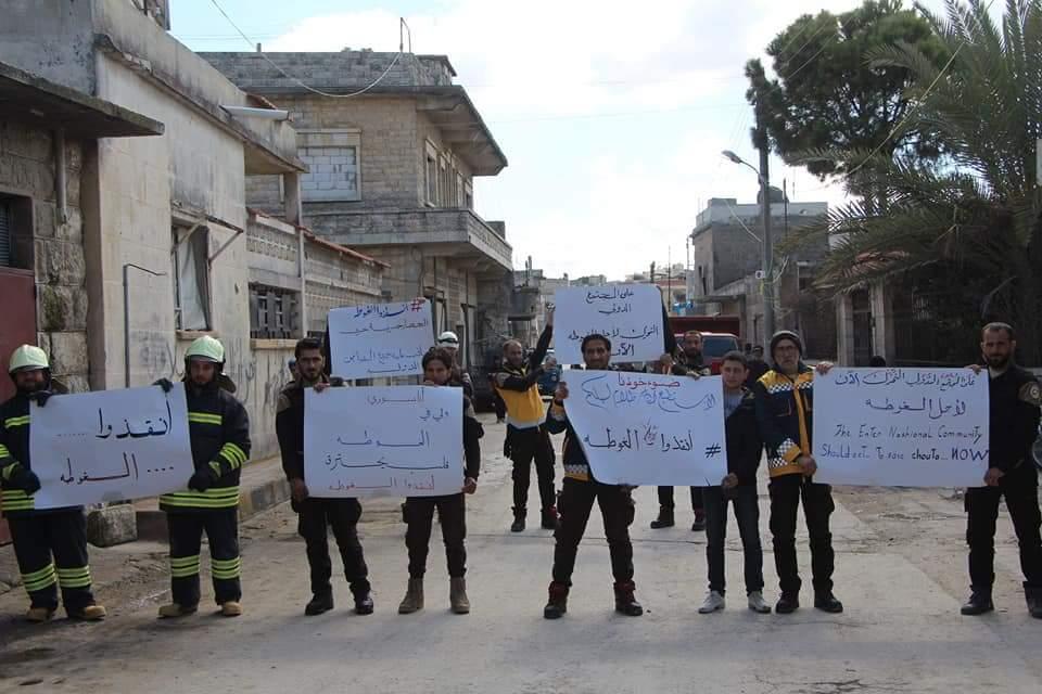 Les casques blancs à Jisr Al-Shoughour en solidarité avec la Ghouta