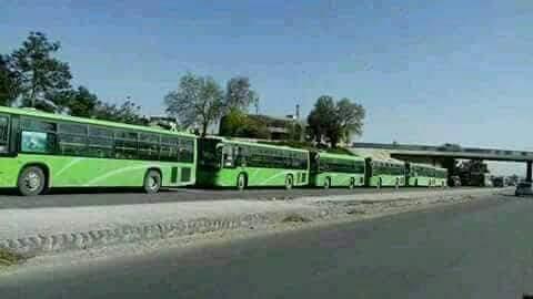 Les cars de déportation à l'entrée de la ville d'Harasta