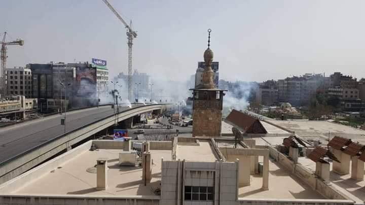 Les charges explosives tombées aujourd'hui sur Damas