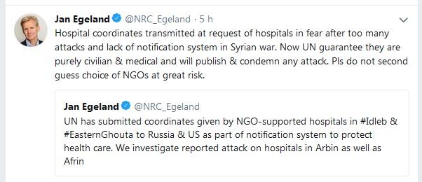 Le tweet problématique de Jan Egeland