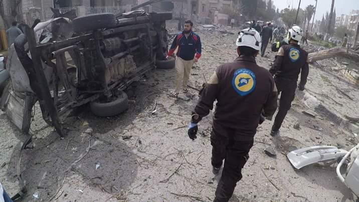 Les traces de l'attentat d'aujourd'hui à Idlib