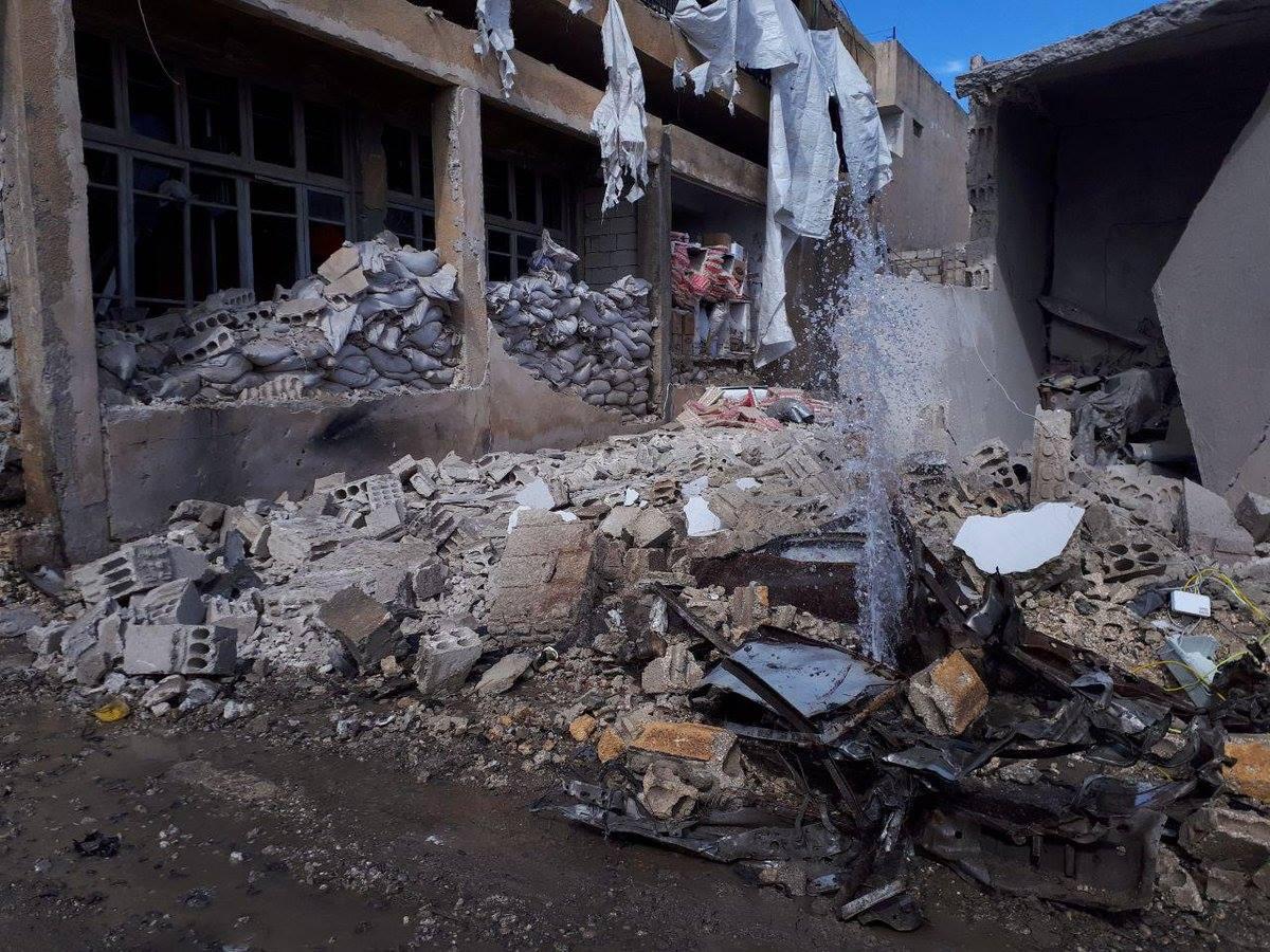Les dégâts causés par l'attentat de Jarablus
