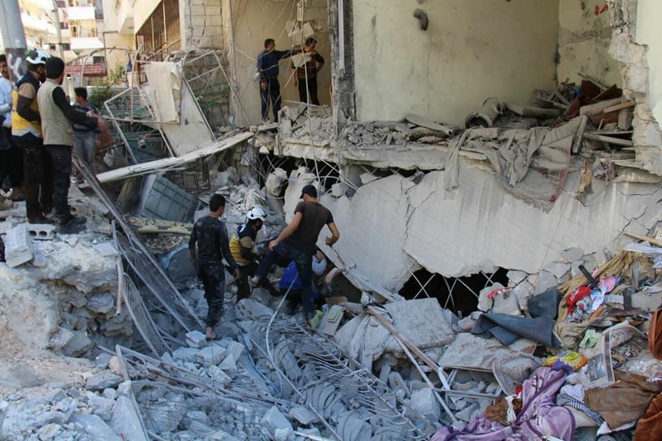 Un des raids aériens sur Ariha
