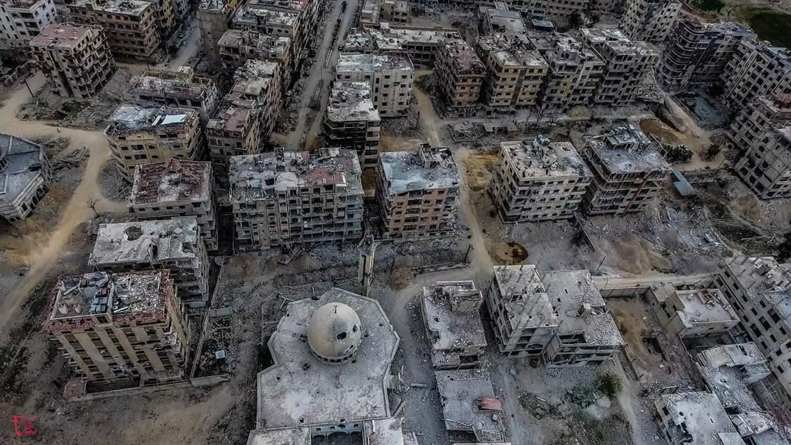 La ville de Douma vue d'un drone