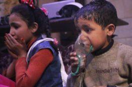 Des enfants victimes de l'attaque au Chlore à Douma