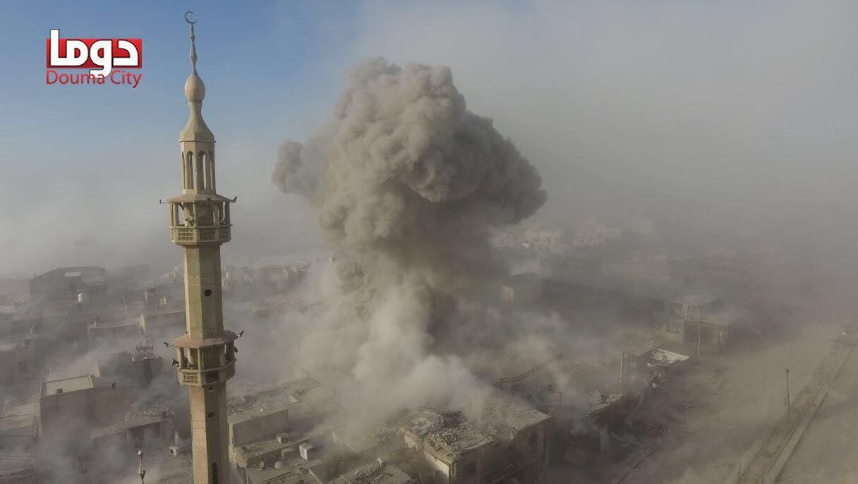Une explosion énorme à la ville de Douma