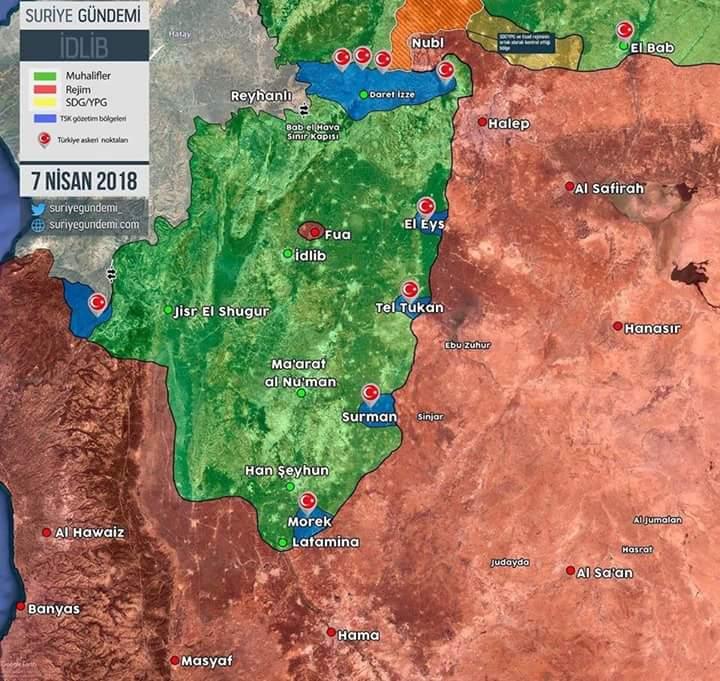 Les positions de l'armée turque en Syrie
