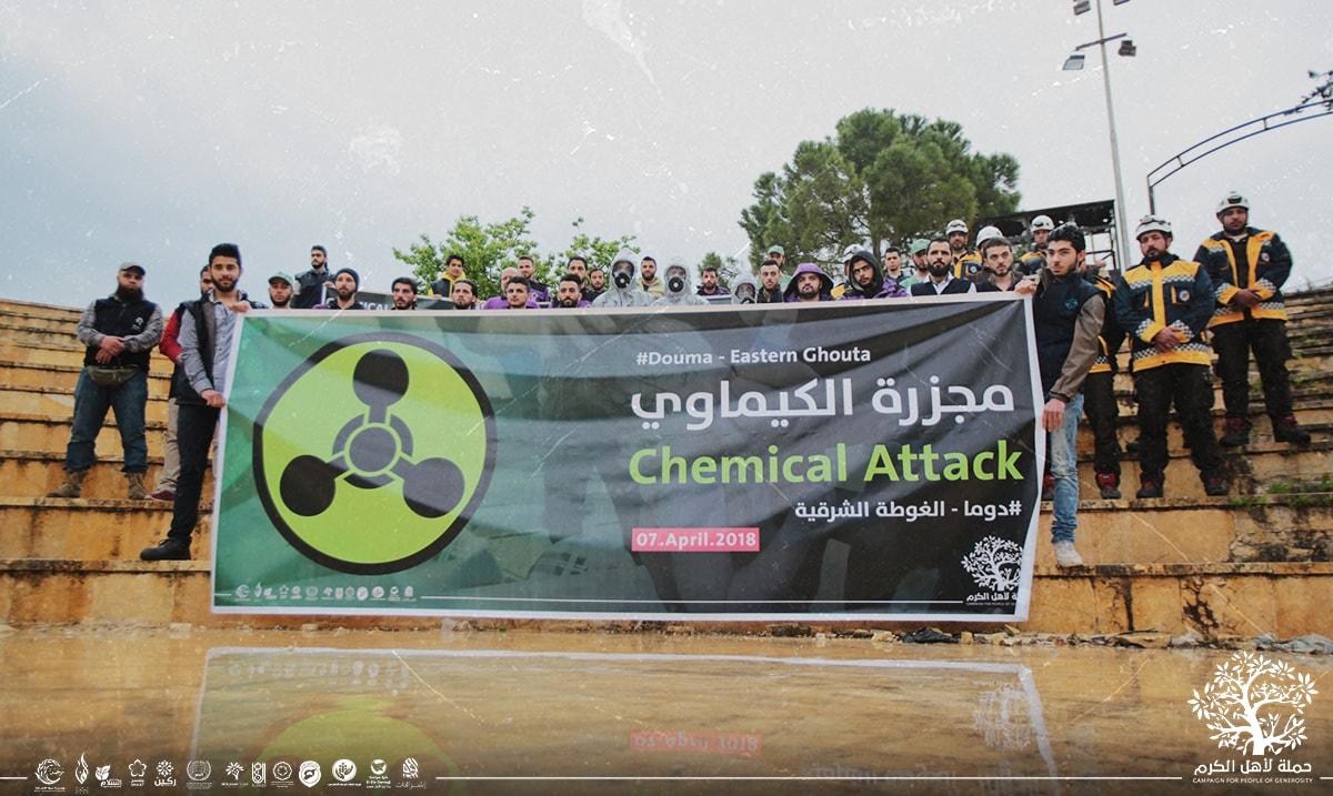 Rassemblement à Idlib contre le massacre chimique de Douma