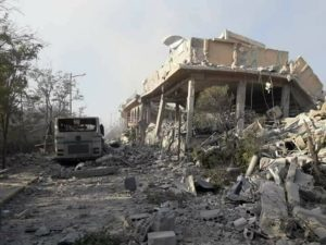Un bâtiment du CERS de Barzeh détruit par les attaques