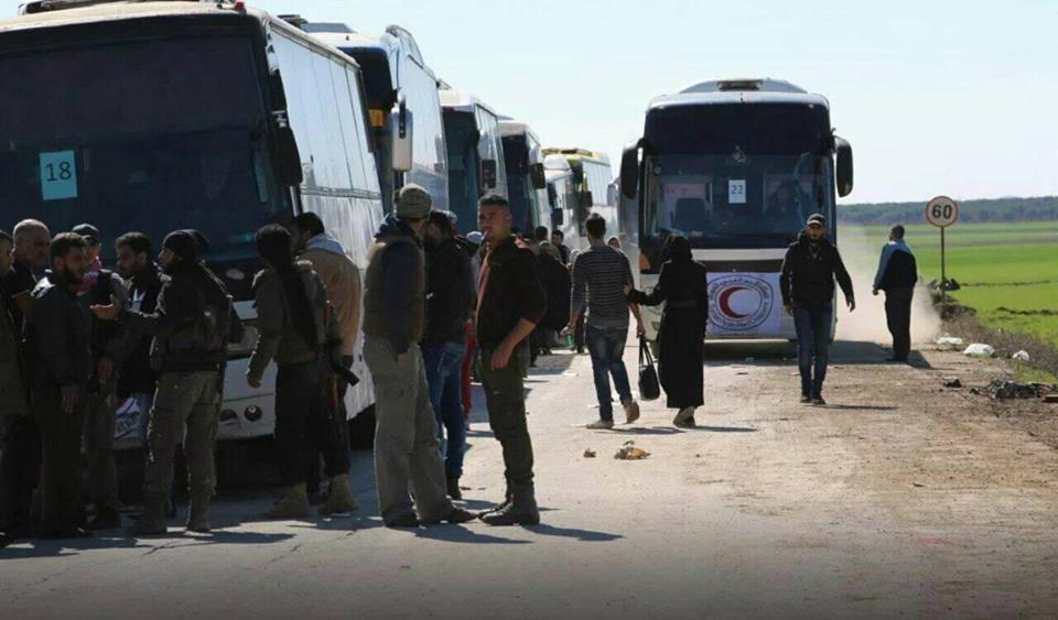 Les cars de déportés arrivés aujourd'hui à Al-Dhoumeir
