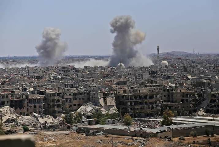 Les bombardements aujourd'hui du camp Al-Yarmouk