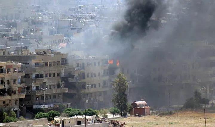 Le bombardement,hier, du camp d'al-Yarmouk
