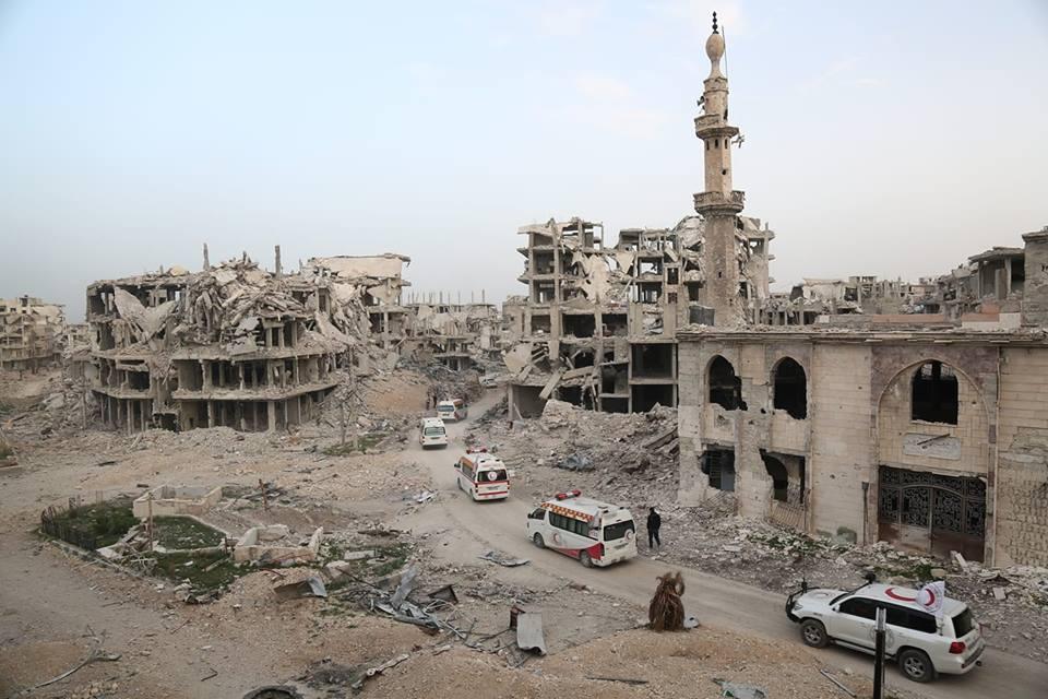 La ville d'Arbine dans la Ghouta suite aux bombardements